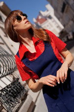 Anita is Vintage 60s Navy Blue Pleated Pinafore Mini Dress