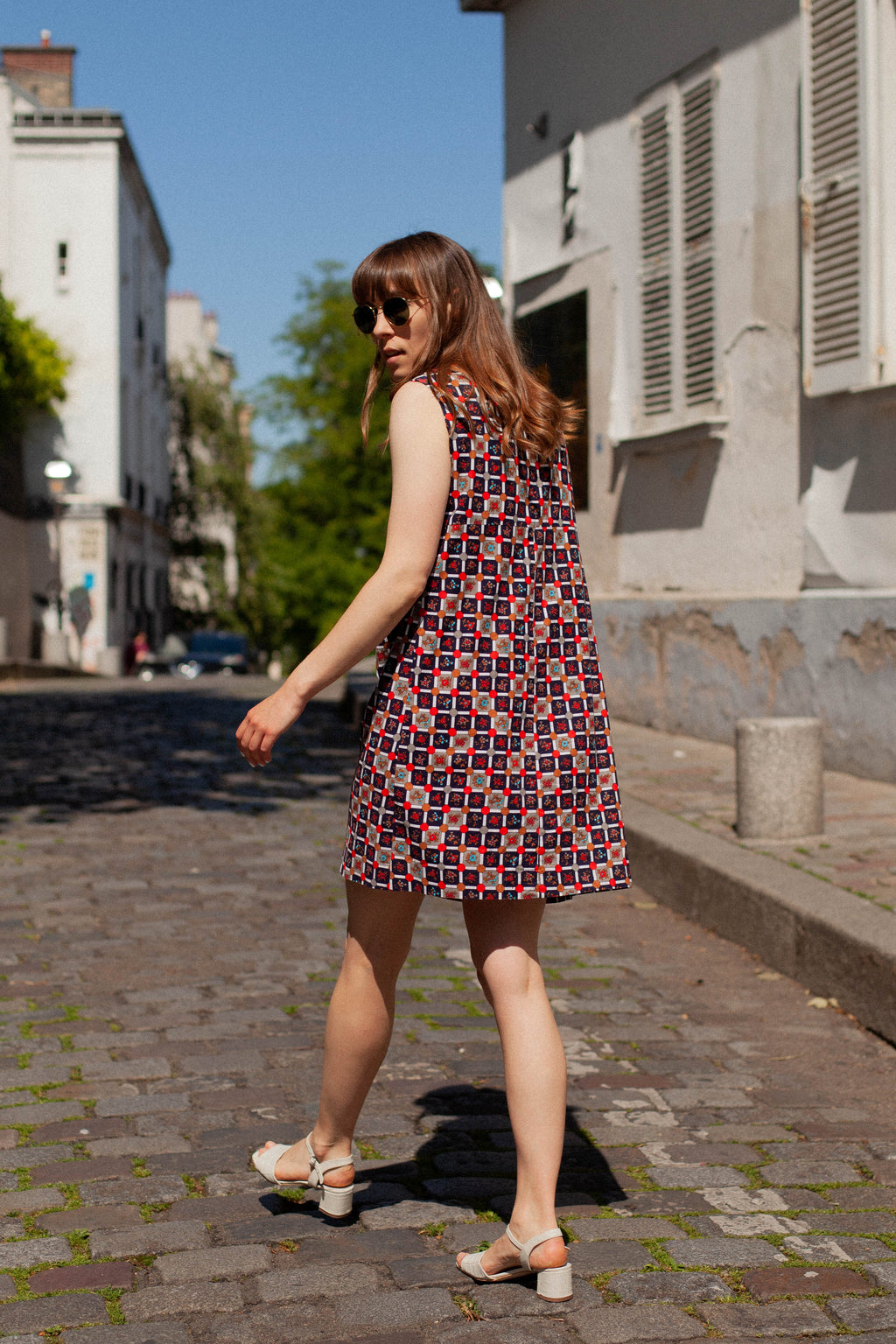 Anita is Vintage 60s Navy & Red Geometric Print Mini Dress back