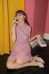 60s PINK LUREX KNITTED DRESS | UK 10 - 12