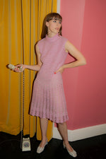 Anita is Vintage 60s Pink Lurex Knitted Dress
