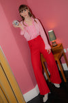 Anita is Vintage 60s Pink Lurex Ruffle Blouse