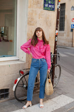 Anita is Vintage 70s Power Pink Ruffle Long Sleeve Blouse