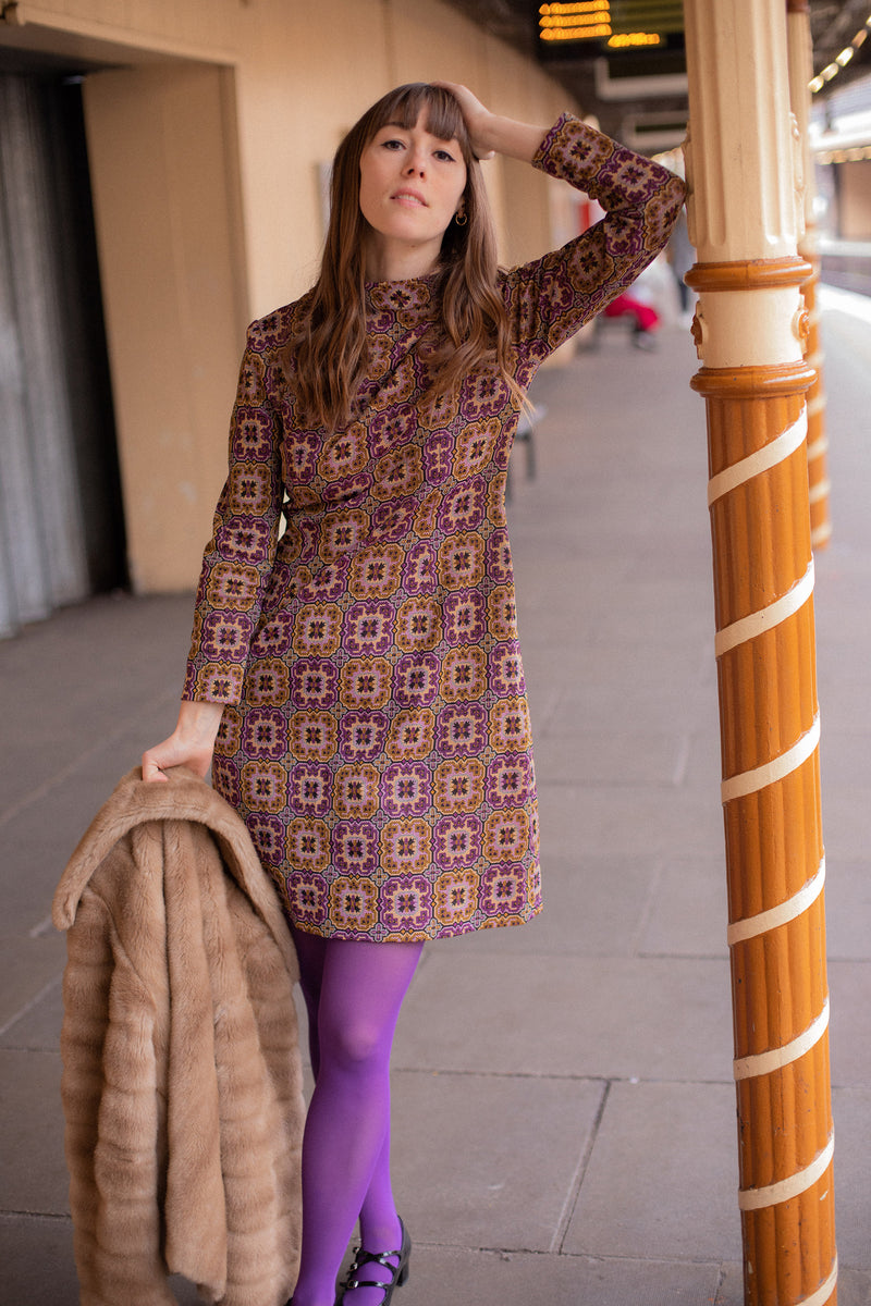 Anita is Vintage 60s Purple & Mustard Print Mini Dress