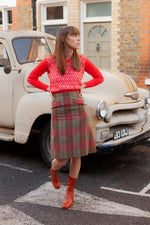 Anita is Vintage 60s Red & Green Check Midi Skirt