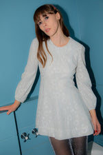 Anita is Vintage 60s Silver Lurex Spot Mini Dress