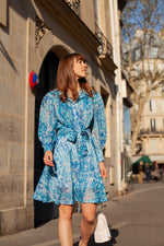 Anita is Vintage 60s Turquoise Floral Mini Dress & Matching Blouse