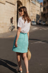 Anita is Vintage 60s Turquoise A Line Mini Skirt