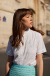 Anita is Vintage 60s White Embroidered Short Sleeve Blouse