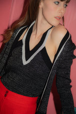 Anita is Vintage 70s Black & Silver Lurex Top & Cardigan Set