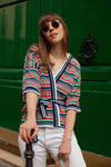 Anita is Vintage 70s Blue, Red, Green & White Striped Wrap Top