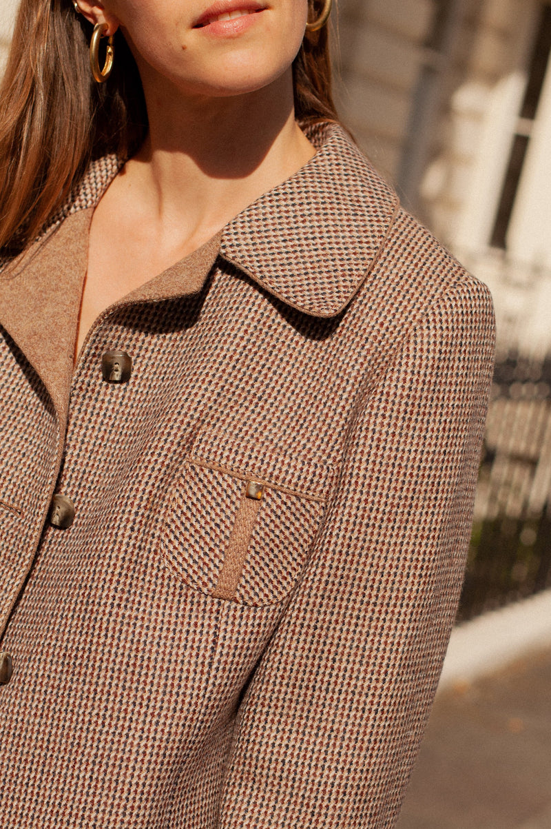 Anita is Vintage 70s Brown Check Wool Blazer