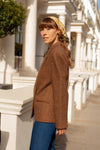 Anita is Vintage 70s Brown Herringbone Wool Blazer