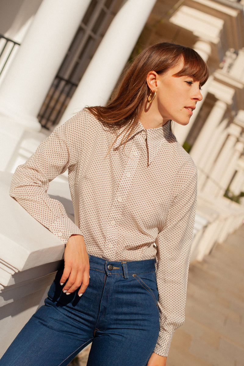Anita is Vintage 70s Cream & Brown Spot Shirt