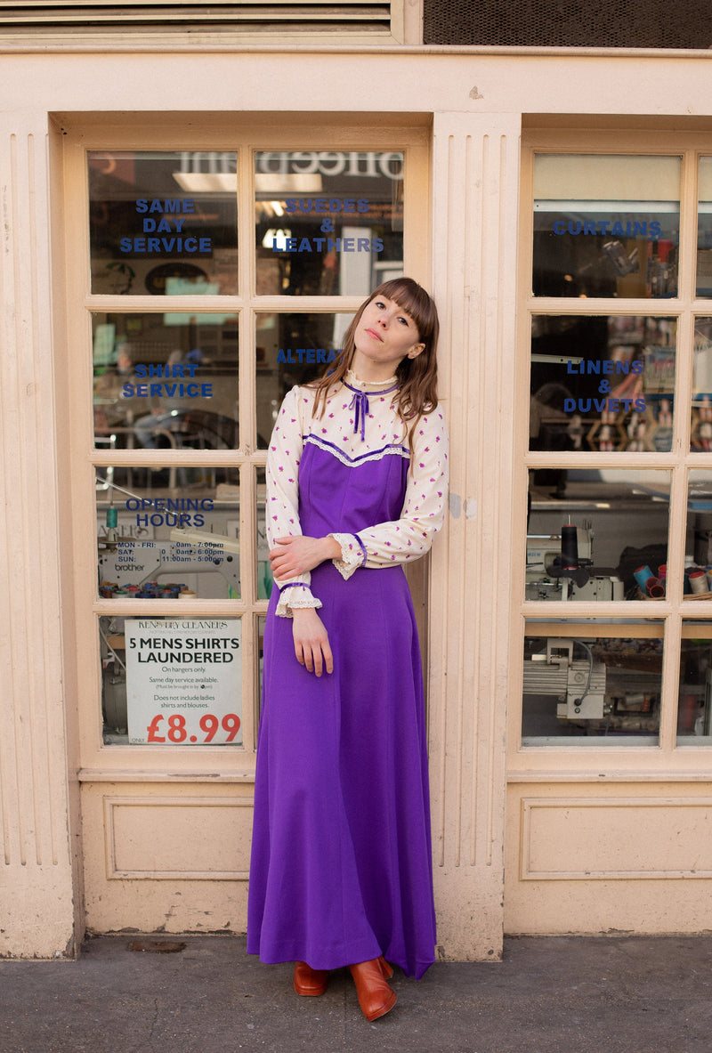 Anita is Vintage 70s Cream & Purple Prairie Maxi Dress