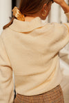 Anita is Vintage 70s Cream V Neck Knit Jumper