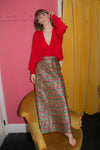Anita is Vintage 70s Gold Paisley Maxi Skirt