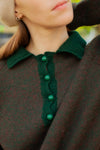 Anita is Vintage 70s Dark Green Collar Jumper