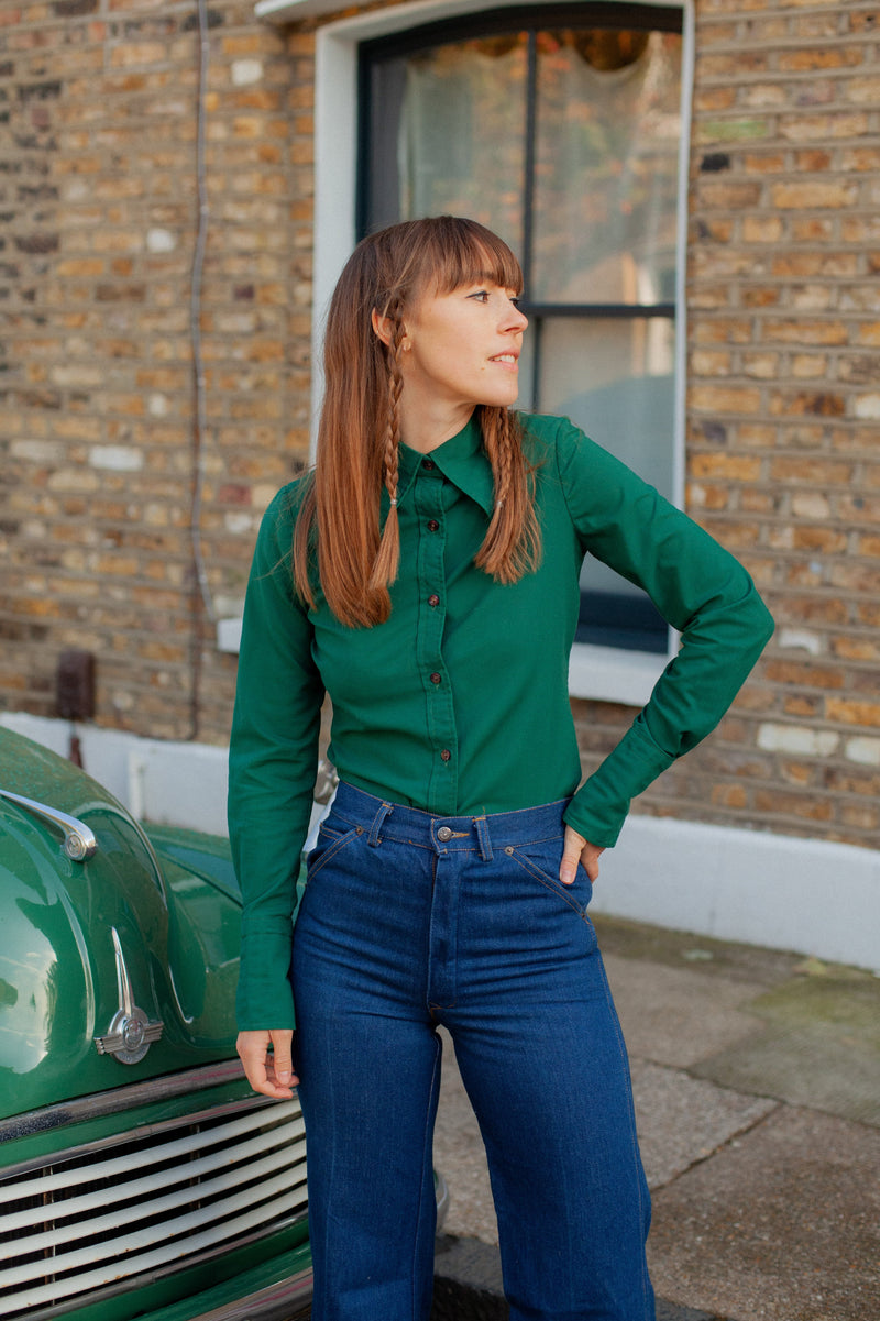 Anita is Vintage 70s Dark Green Shirt
