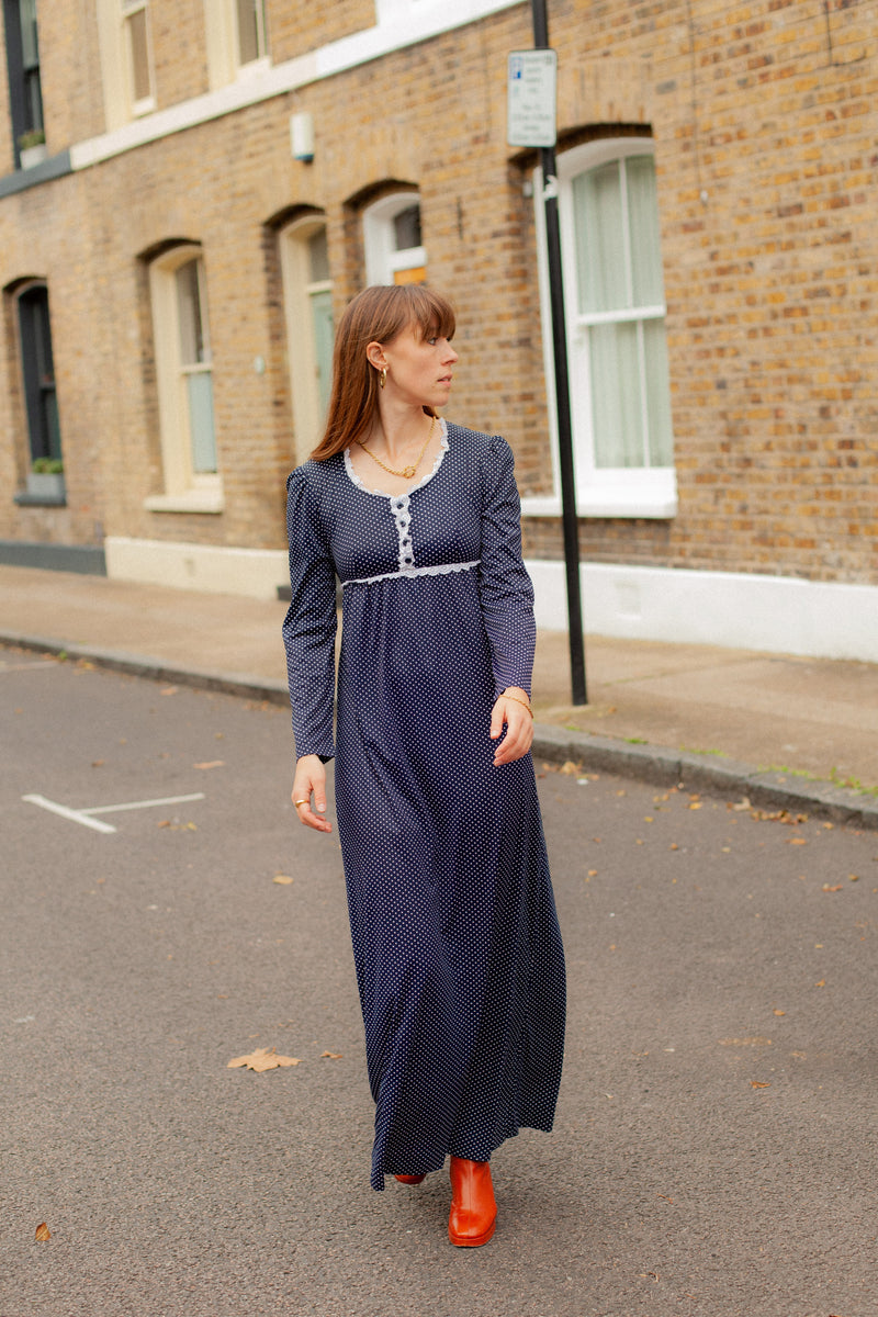 Anita is Vintage 70s Blue & White Polka Dot Long Sleeve Maxi Dress