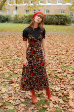 Anita is Vintage 70s Polly Peck Floral Maxi Dress