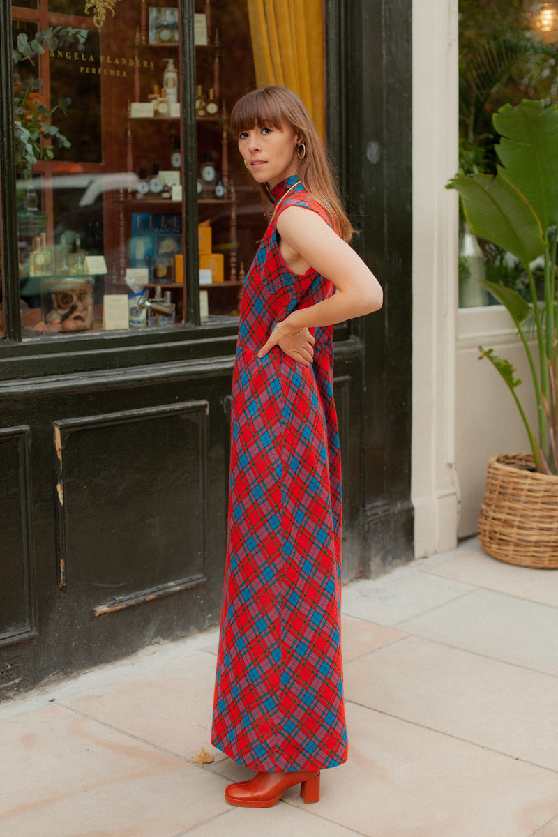Anita is Vintage 70s Red & Blue Check Maxi Dress