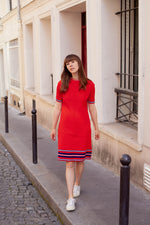 Anita is Vintage 70s Red Knitted Short Sleeve Mini Dress