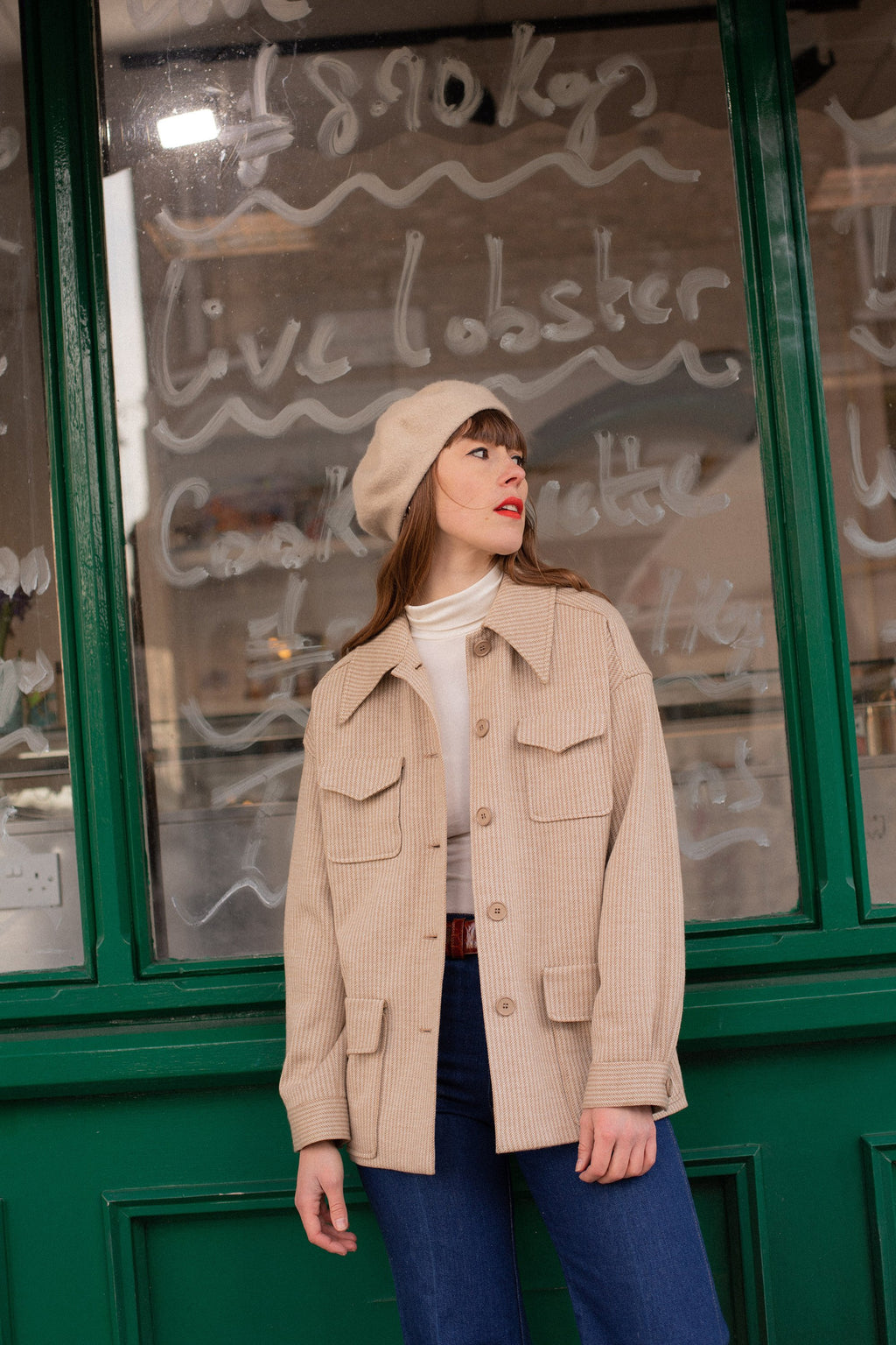 Anita is Vintage 70s Rodier Paris Camel Utility Jacket