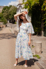 Anita is Vintage 70s White & Blue Floral Floaty Midi Dress