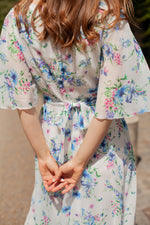 Anita is Vintage 70s White & Blue Floral Floaty Midi Dress back