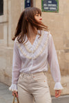 Anita is Vintage 70s White Ruche Collar Long Sleeve Blouse