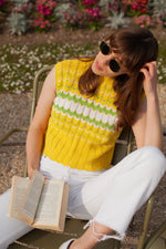 Anita is Vintage 70s Yellow & Green Chevron Stripe Knitted Top