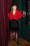 Anita is Vintage 80s Black Wool & Velvet Ruffle Skirt