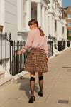 Anita is Vintage 80s Brown Check Pleated Midi Skirt