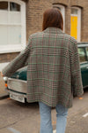 Anita is Vintage 80s Grey Check Oversized Coat