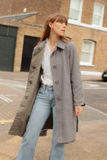 Anita is Vintage 80s Grey Check Reversible Trench Coat