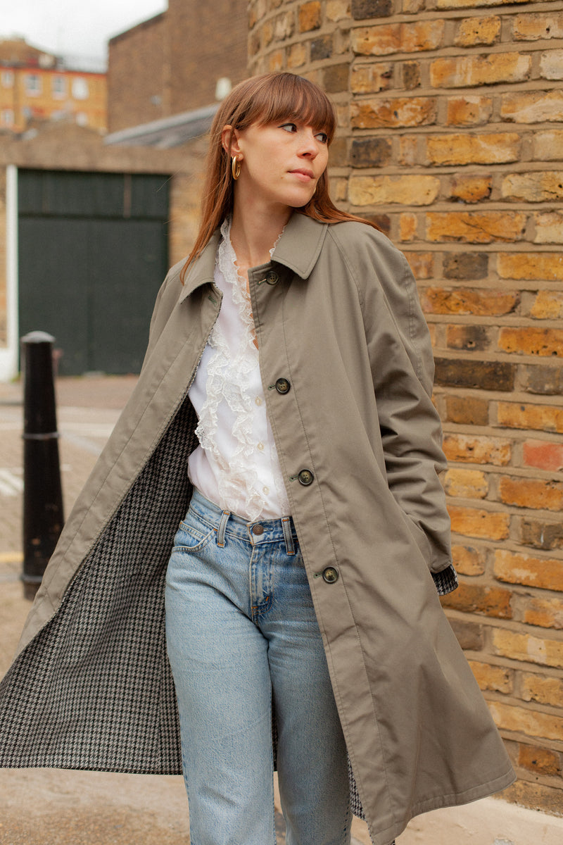 80s GREY CHECK REVERSIBLE TRENCH COAT