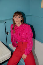 Anita is Vintage 80s Hot Pink Paisley Print Blouse