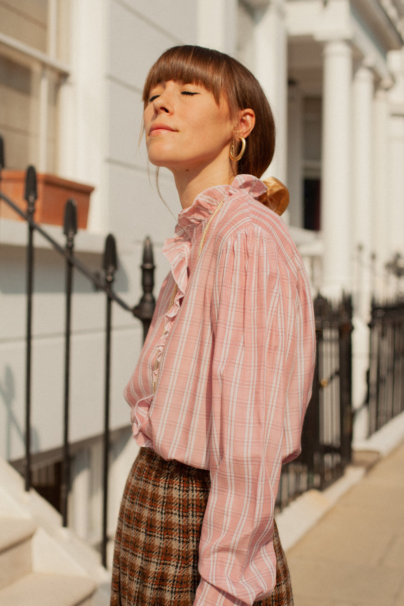 Anita is Vintage 80s Pink Check Ruffle Blouse