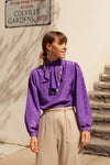 Anita is Vintage 80s Purple Ruffle Blouse