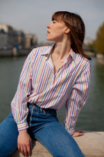 Anita is Vintage 80s Rainbow Stripe Long Sleeve Shirt