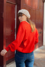 Anita is Vintage 80s Red V-Neck Cardigan