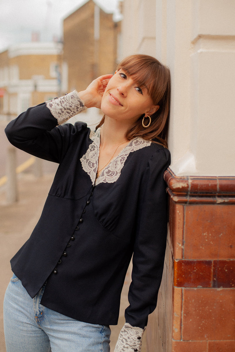 Anita is Vintage 90s Black Blouse With Cream Lace