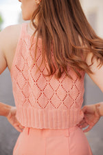 Anita is Vintage 90s Peach Pink Knitted Top back