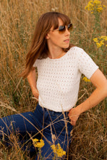 Anita is Vintage 90s White Crochet Crop Top