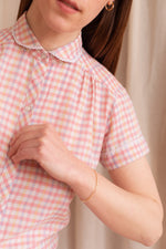 Anita is Vintage 60s 70s Pink & Yellow Check Blouse