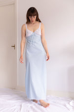 Anita is Vintage 60s Baby Blue Embroidered Slip Dress