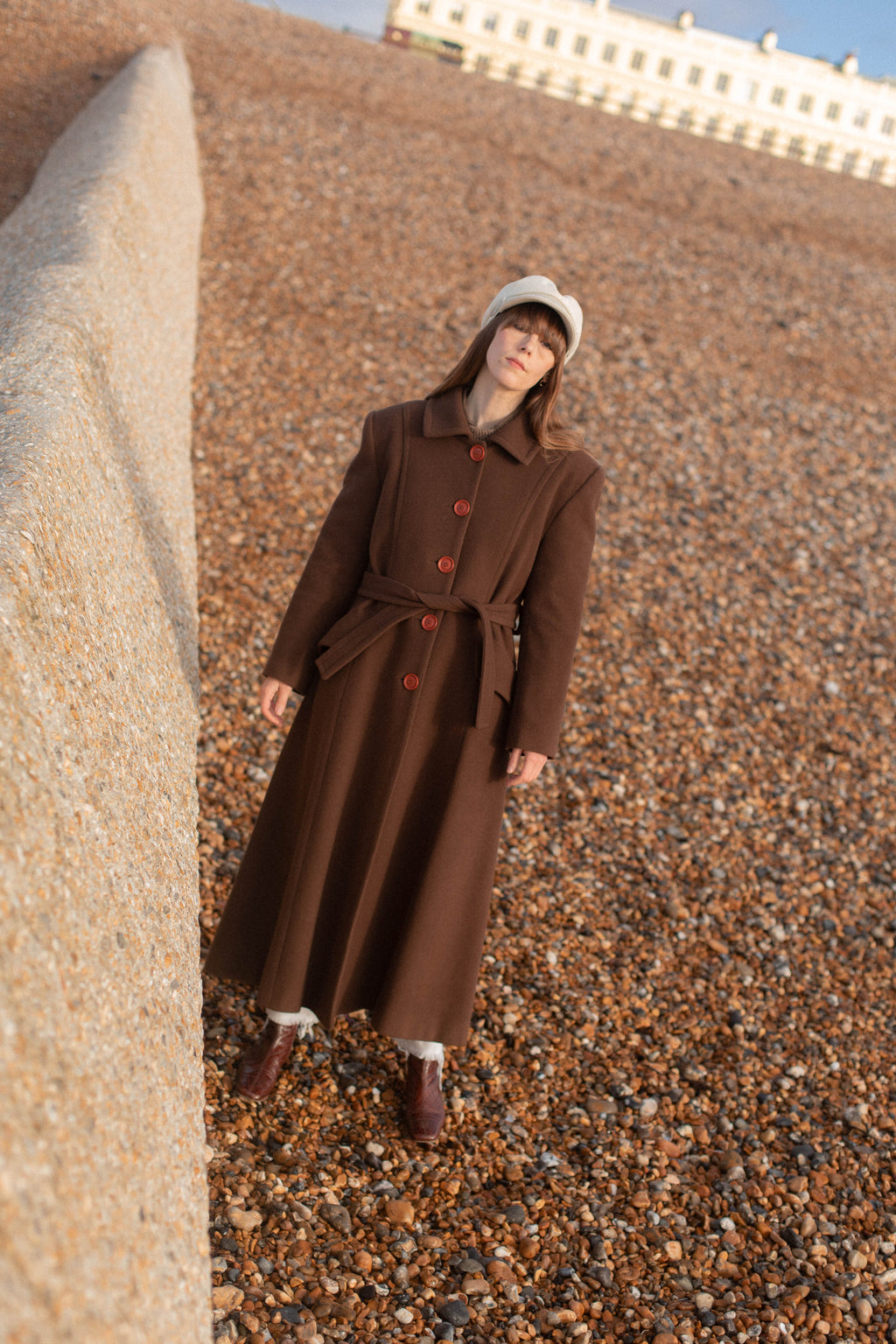 Anita is Vintage 60s Brown Cashmere Wool Maxi Coat