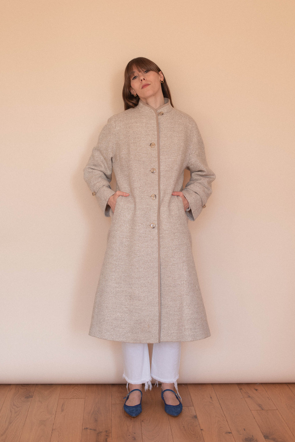 Anita is Vintage 60s Brown Check Wool Maxi Coat