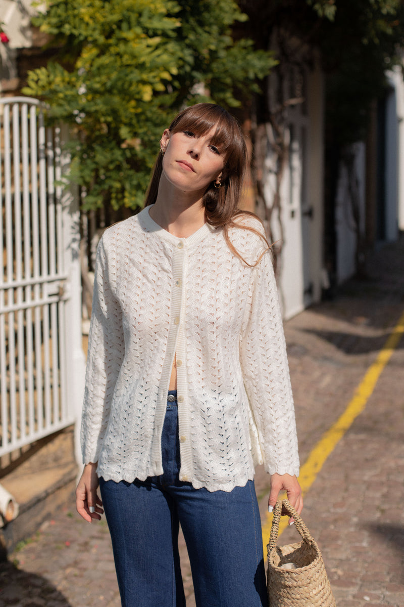 Anita is Vintage 60s Cream Open Knit Cardigan