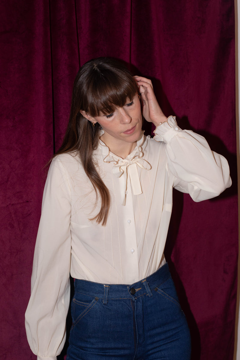 Anita is Vintage 60s Cream Silk Gold Ruffle Blouse